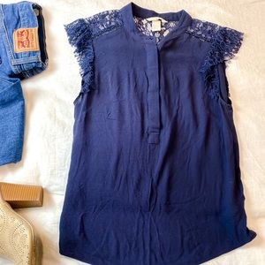 H&M Navy Lacy Accent Sleeveless Top - 4